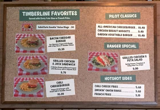 Smokejumpers Grill menu
