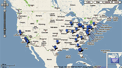 Google Map of U.S. Theme Parks
